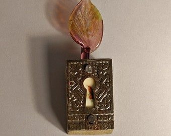 Little Bird Talisman-Amethyst Glass Leaf- Assemblage