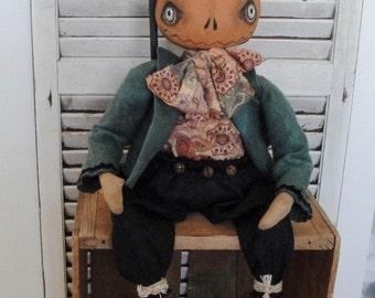 EPATTERN - Abbott Punkinman primitive folk art pumpkin doll epattern