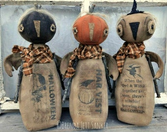 EPATTERN - Autumn Friends primitive folk art pumpkin owl doll epattern