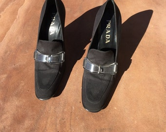 The Vintage Prada Womens 36 Black Loafer Made In Italy Pumps Shoes