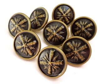 Vintage Metal Buttons - 8 Blazer Sleeve Buttons Antique Gold Finish 5/8 inch 13mm for Jewelry Beads Sewing Knitting