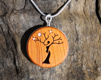 Celtic Tree Of Life Wooden Pendant, Handcarved Pagan Tree Necklace On Sterling Silver, Irish Yew Wood Celtic Tree Jewelry