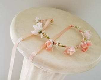 Baby Peach Flower crown photo prop headband Bridal wedding hair Wreath flower girl halo accessories headpiece Bride spring summer birthday
