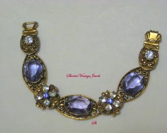 Vintage Art Nouveau Statement Bracelet Purple and Clear Glass Crystals in Filigree Antiqued Gold