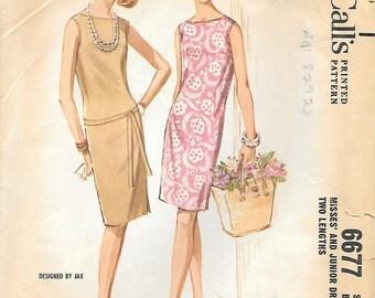 McCalls 6677 1960s Slim Sleeveless Dress Vintage Sewing Pattern Size 9 Bust 30 Summer Shift