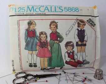 1970s Childrens' Dress or Shirt, Jumpsuit and Vest, McCalls 5868, c1977