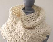 "crochet handmade super bulky chunky yarn COWL SCARF shawl wrap SOFT cozy stylish comfy warm wide off white ivory 96""x 8"" new"