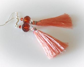 Peach Silk Tassel & Swarovski Crystal Earrings. Coral - Apricot Silk Tassel Earrings