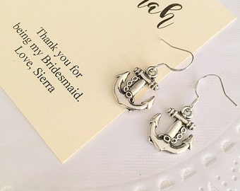 Anchor charm earring, nautical wedding, personalized notecard and jewelry box.