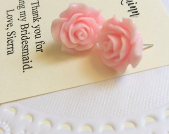 Bridesmaids rose earring, stud earrings, personalized notecards, free jewelry box. Multiple order discount available.