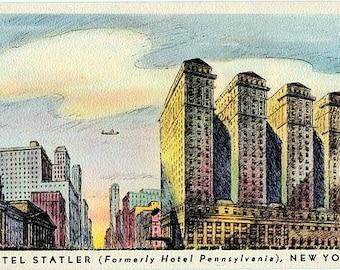 Vintage New York City Postcard - The Hotel Statler (Unused)