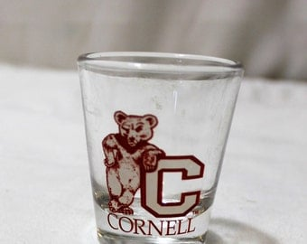 Vintage Cornell Universit Leaning Bear Souvenir Shot Glass, Libbey Glass Co.