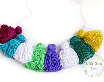 Yarn Tassel Garland - banner - Jewel Toned  - Rainbow - Birthday or Bedroom or  Nursery Decor