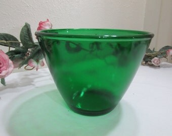 Forest Green Splash Proof Mixing Bowl Fire King Anchor Hocking