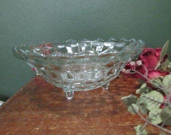 Jeannette Glass Bowl Footed Cubist Pattern Serving Centerpiece Bowl