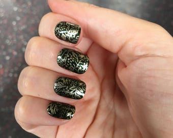 Medieval Tapestry Press On Nails | Gothic Nails | Vampire Fake False Nails | Short Press On Nails | Renaissance Fair Nails | Ren Faire Nails