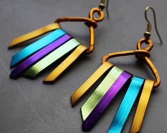 Rainbow Gold Tone Anodized Aluminum Xena Warrior Bold Goddess Tribal Tassel Wind Chime Earrings