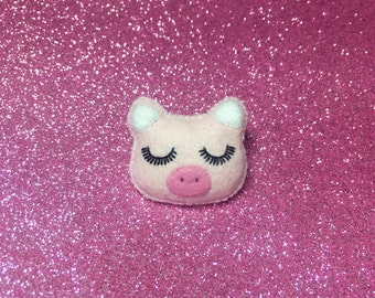 Pig Brooch - Cute Pig Brooch - Cute Piggy Pin - Pink Pig Pin - Pig Pin - Piglet Pin - Gifts For Pig Lovers - Valentines Day Gift
