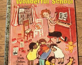 vintage 60s/70s  little golden book The Wonderful School children boy girl picture book