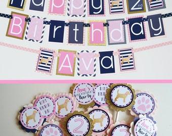 Puppy Birthday Party Decor | Pink Navy Gold Decorations | Puppy Party Decorations | Fully Assembled Banner | Pink Gold Navy Puppy | Dog