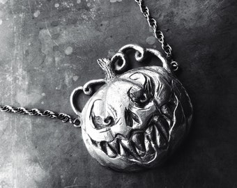 Jack O' Lantern Pendant , Silver, Rope chain, Oxidized Silver - Limited Edition - Only 3 Available