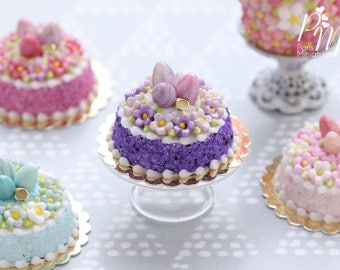 Spring Blossom Easter Egg Nest Cake (Purple) - Miniature Food in 12th Scale for Dollhouse