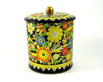 Mid Century Embossed Floral Tin by Daher