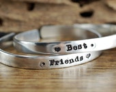 Best Friend Bracelet, Best Friend Gift, Custom Cuff Bracelet, Gift for Friend, BFF Gift, Hand Stamped Bracelet, Personalized Jewelry