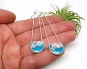 FREE - Regency Plume Agate Turquoise Doublet Silver Dangle Statement Earrings