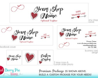 Cute Red Valentine Hearts // Etsy Shop Banner Branding Package // Happy Valentine's Day!