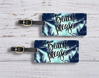 Luggage Tag Set Beach Please Summer Sky Palm Trees Metal Luggage Tag Set With Printed Custom Info On Back, 2 Tags Choice of Straps
