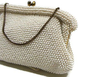 Vintage Cream Handbag Vintage Beaded Handbag Vintage Beaded Evening Bags Vintage Purses Handbags Vintage Ladies Handbags Retro Bags
