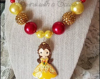 Belle Princess necklace,Beauty & the Beast inspired chunky bead necklace, Girls chunky bead necklace,Beaded necklace ,Girls Jewelry