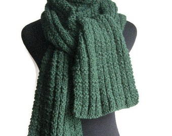 Hand Knit Scarf, Vegan Knits, Mens Accessories, Green Scarf, Long Scarf, Winter Fashion, Womens Accessories, Mens Scarf
