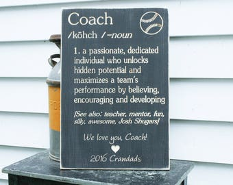 Customizable Coach Definition Carved Wooden Sign - 16x24 Coach Appreciation Handpainted Carved Rustic Wood Sign