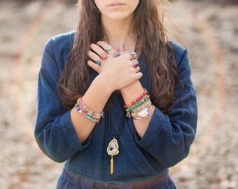 Gold Tassel Necklace/ Black Druzy Necklace/ Long Necklace Boho/ Long Beaded Necklace/ Bohemian Jewelry/ Gold Tassel Jewelry/ Onyx