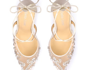 Opal crystal embellished and beaded wedding shoes heels with ankle straps Bella Belle Florence