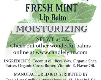 READY TO SHIP- Fresh Mint Lip Balm in Black Tubes by Candle Lynn - Made with Organic Shea and Cocoa Butters