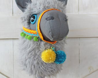 """Llama Ride-On Toy Stick Horse """"Azul"""" Gray Toddler Size Ready To Ship"""