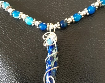 Sea Sediment Jasper Gemstone Wire Wrapped Pendant, Blue Agate Gemstones, Necklace and Earrings