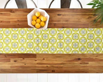 Geometric Table Runner // Midcentury Modern Geo // Table Linens // Kitchen Decor // Into Orbit Design // Yellow Green // Table Decoration