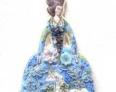 Unicorn Dress Marie Antionette Flat Doll Ornament Handmade Fabric Doll Decoration Ornate Embellished Textile Art Doll Fabric Ornament