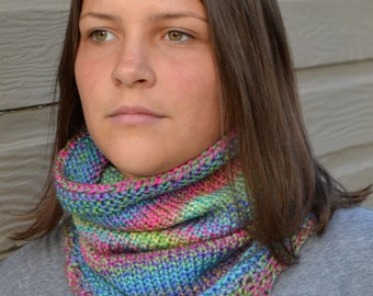 Knit Infinity Cowl Scarf, BRIDGER, Hand Knit in Variegated Purple, Pink, Green, Blue (1156)