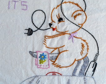 Vintage Flour Sack Kitchen Towel - Tuesday Ironing Teddy Bear - Embroidered Days of the Week