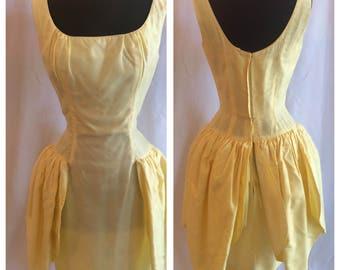 Adorable 1960s 1950s Yellow Taffeta Party Prom Dress
