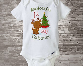 Personalized 1st Christmas Outfit, First Christmas Shirt, Personalized 1st Christmas T-Shirt or Onesie, Reindeer 08222012d