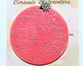 UNIVERSITY of WISCONSIN ornament + free gift wrap Locally handmade ceramic UW grad Madison Wi memories alum son daughter family student gift