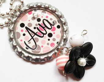 CUTE POLKADOTS - Personalized Custom Bottle Cap Pendant Necklace - Beaded Dangles and Swavorski Crystal Accents - Perfect for Gifts