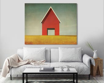 Modern Red Barn Farmhouse Illustration by Ryan Fowler - Gallery Wrapped Stretched Canvas Wall Art  Signed