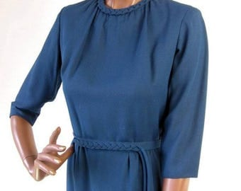 50s 60s Day Dress Vintage Blue Braided Trim Office Diva Small to Medium